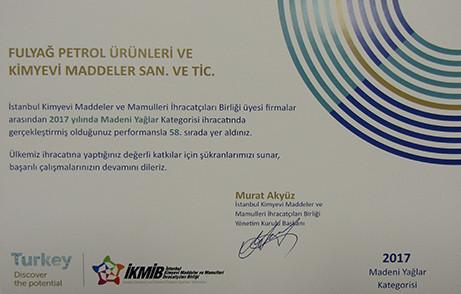 2017 Yılı Madeni Yağlar İhracatında Türkiye 58.si